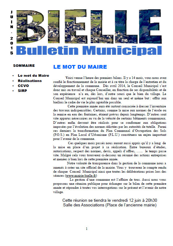 bulletin municipal commune de Bielle - Juin 2015